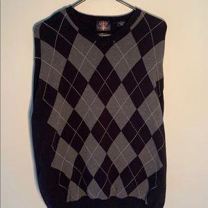 Black & grey argyle, dress sweater
